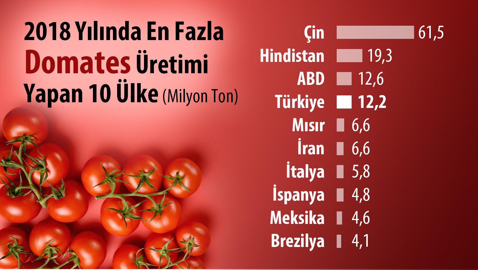 En çok domates üretimi yapan ülkeler 2018