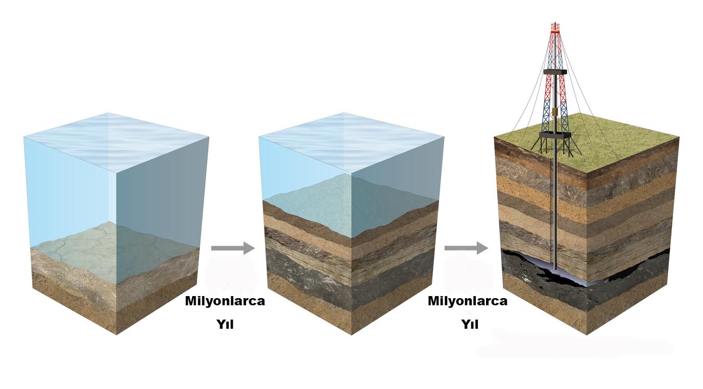 Okyanus tabanlarında petrol ve doğal gaz milyonlarca yıl içinde oluşur.