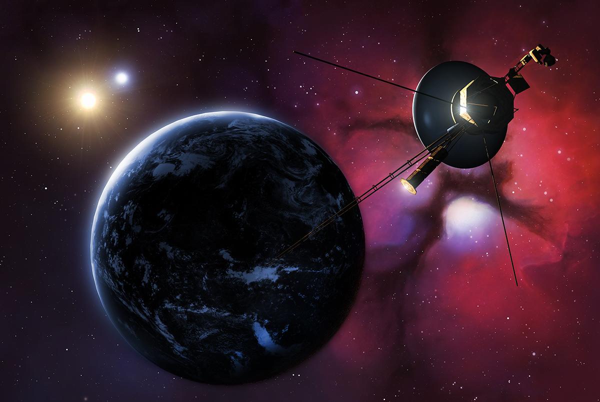 Voyager 1 ve 2 uzay araçlarının Dünya'ya olan uzaklıkları sırasıyla yaklaşık 19-23 milyar kilometre.